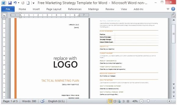 Marketing Proposal Template Word Lovely Free Marketing Strategy Template for Word