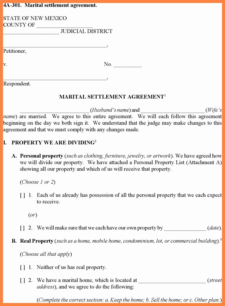 Marriage Settlement Agreement Template Awesome Munity Property Agreement Template Detail 18 Best