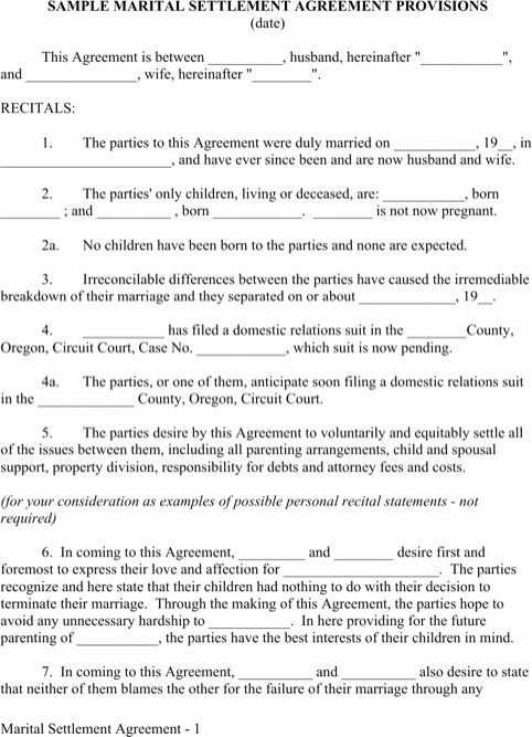Marriage Settlement Agreement Template Beautiful Download Marriage Contract Sample for Free formtemplate