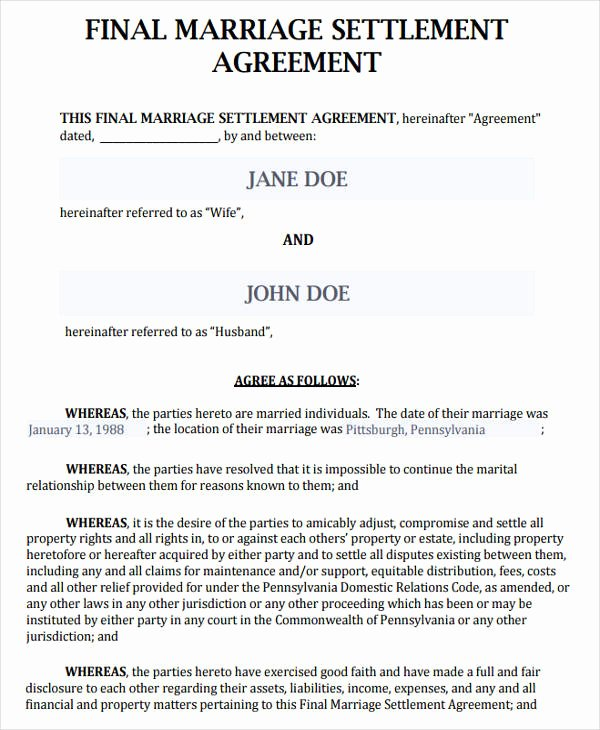 Marriage Settlement Agreement Template Best Of 38 Agreement form Samples