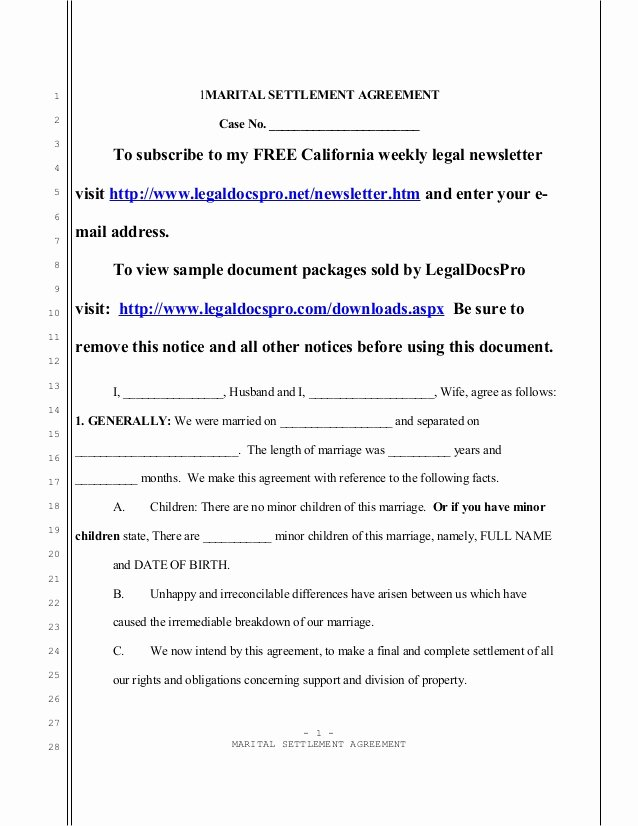 Marriage Settlement Agreement Template Best Of Sample California Marital Settlement Agreement