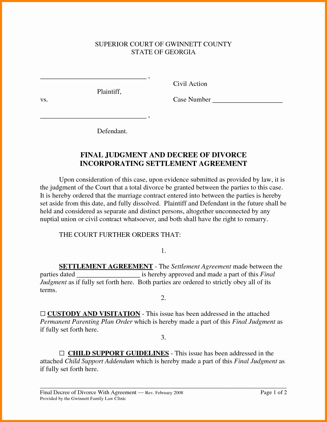Marriage Settlement Agreement Template Elegant 11 Divorce Settlement Agreement form Sample
