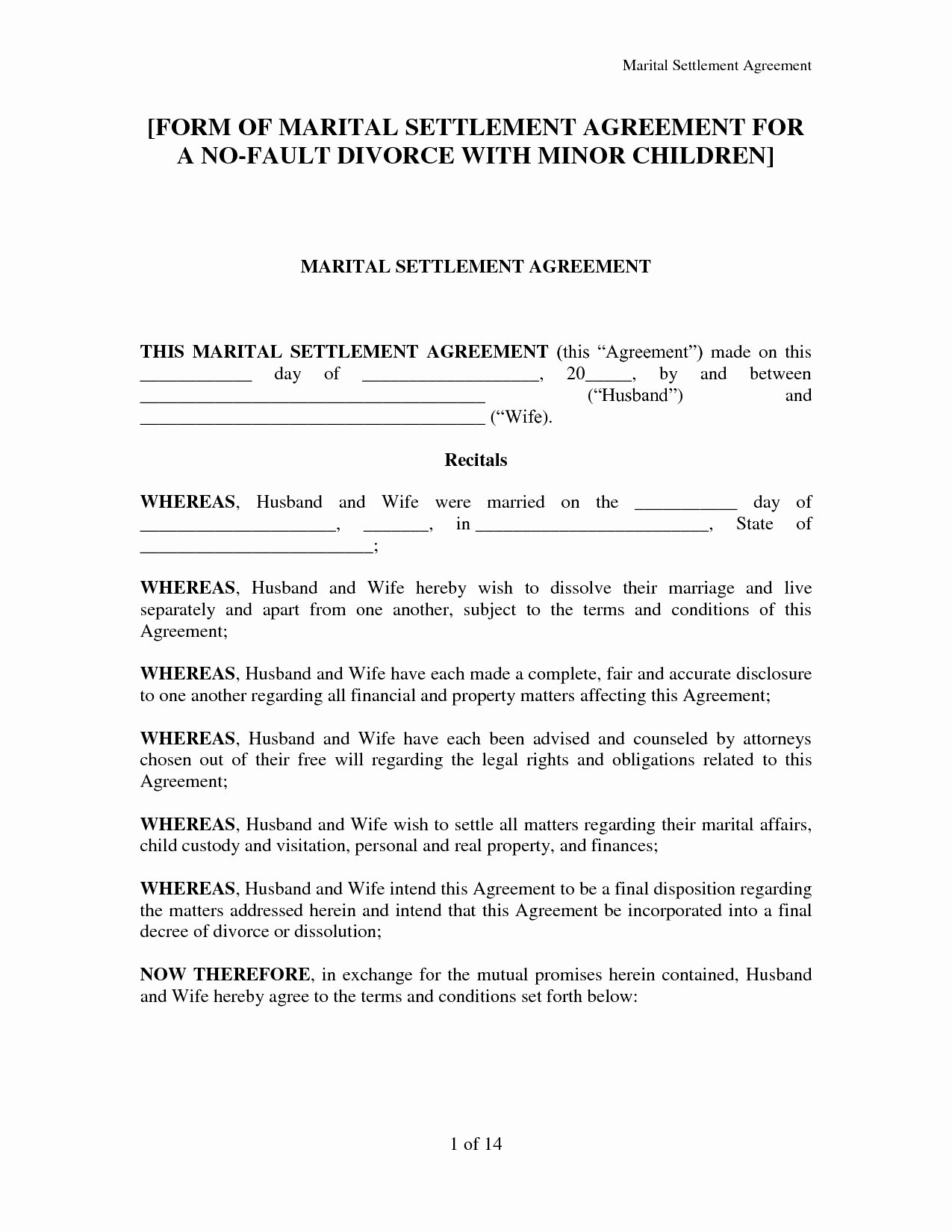 Marriage Settlement Agreement Template Elegant Divorce Settlement Agreement Template Image Collections