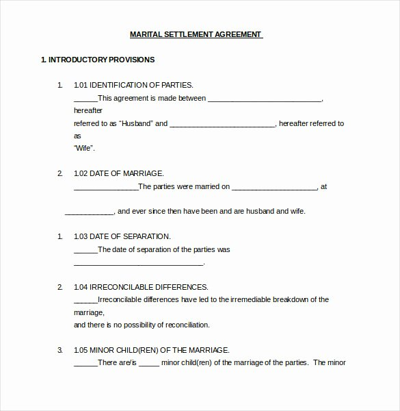 Marriage Settlement Agreement Template Fresh 12 Divorce Agreement Templates Pdf Doc