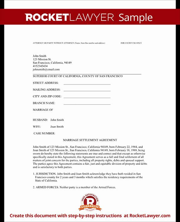 Marriage Settlement Agreement Template Fresh Divorce Settlement Agreement Template with Sample