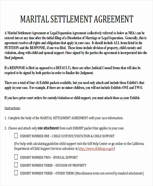 Marriage Settlement Agreement Template Inspirational 6 Divorce Agreement Samples
