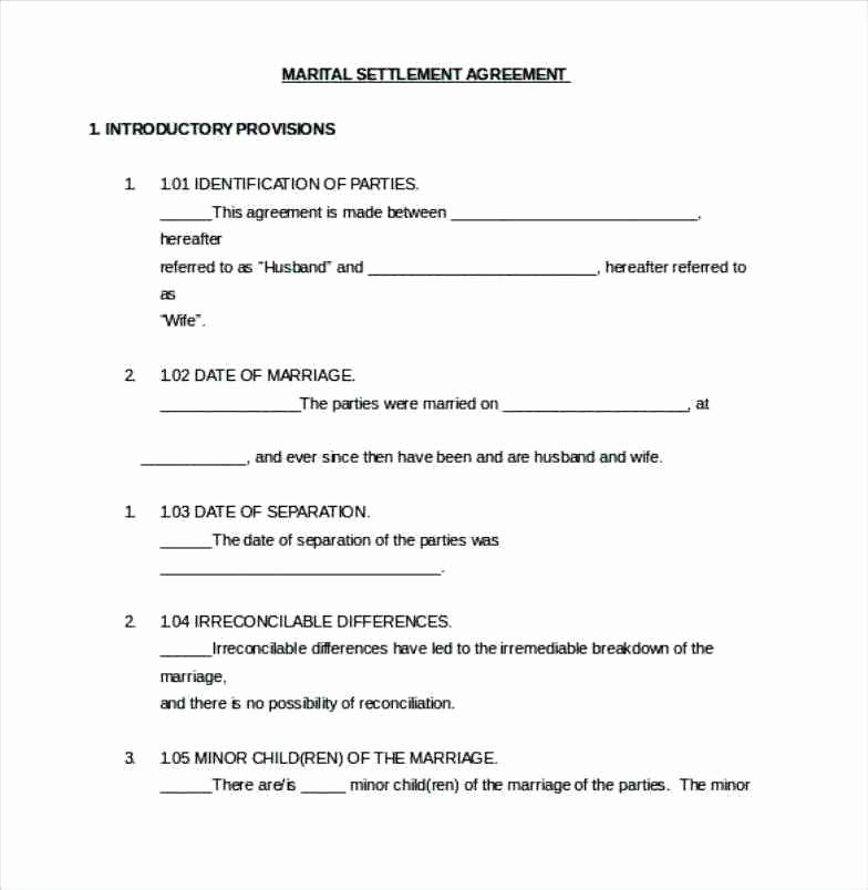 Marriage Settlement Agreement Template Inspirational Divorce Settlement Agreement Template Uk Fxbaseball
