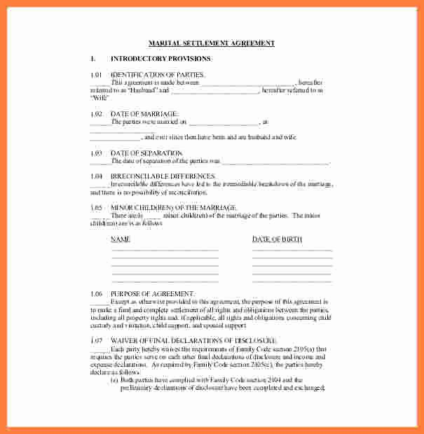 Marriage Settlement Agreement Template Lovely 3 Divorce Settlement Agreement Sample
