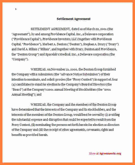 Marriage Settlement Agreement Template Lovely 8 Sample Settlement Agreement