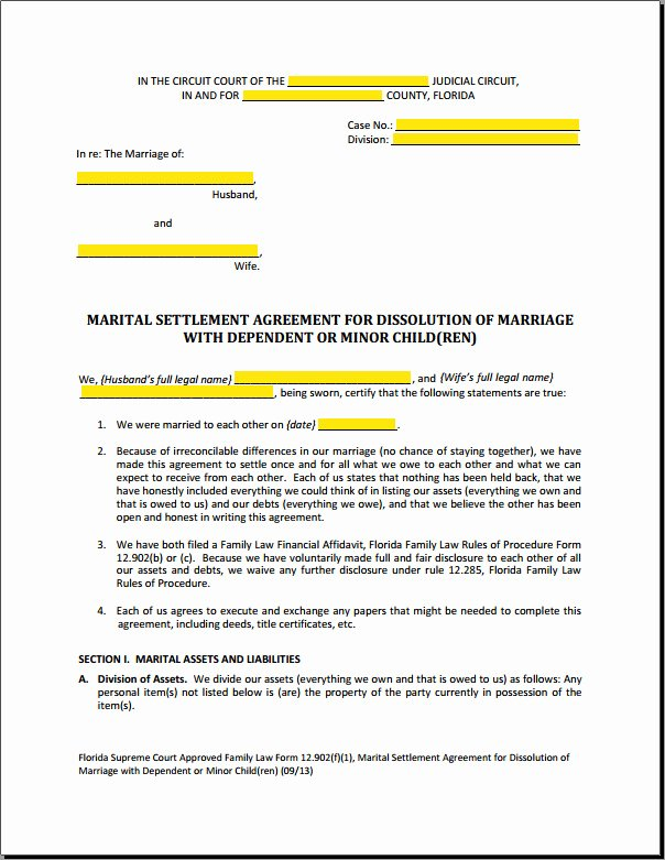 Marriage Settlement Agreement Template Luxury Divorce Mediation Settlement Agreement form Templates