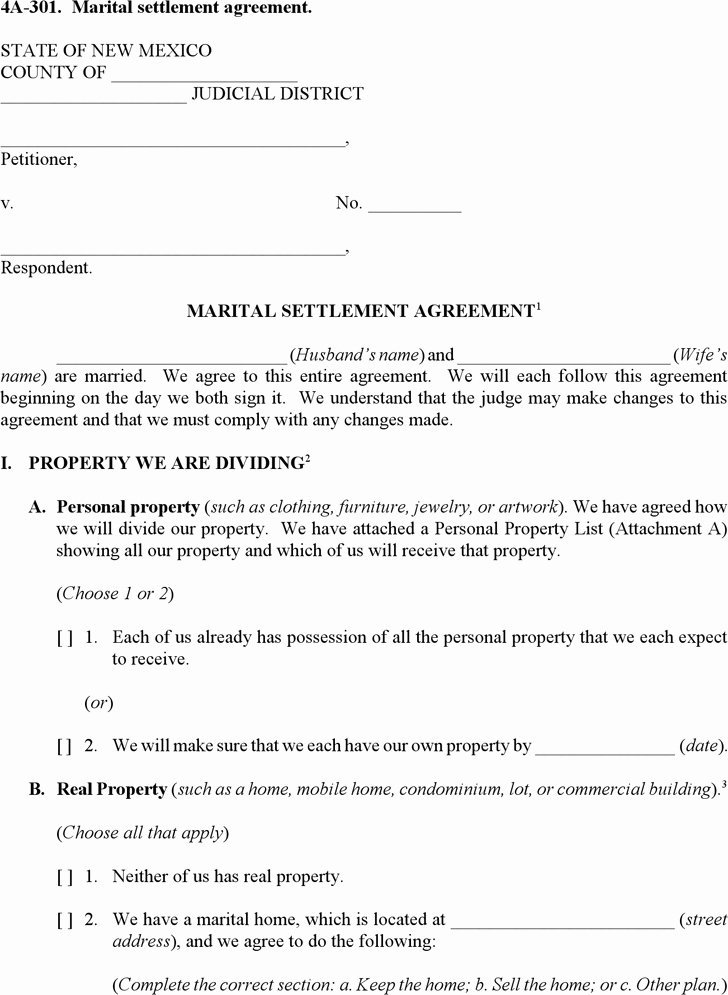 Marriage Settlement Agreement Template Luxury Marital Settlement Agreement Template