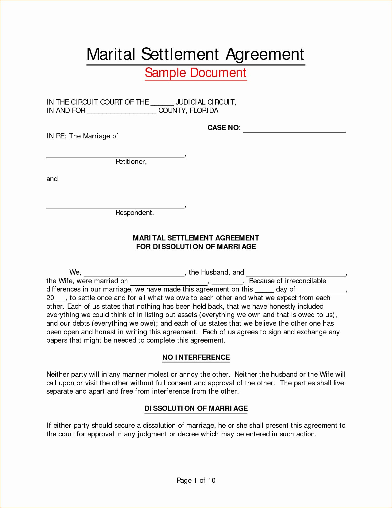 Marriage Settlement Agreement Template New Employee Separation Agreement Template Great 8 Marriage