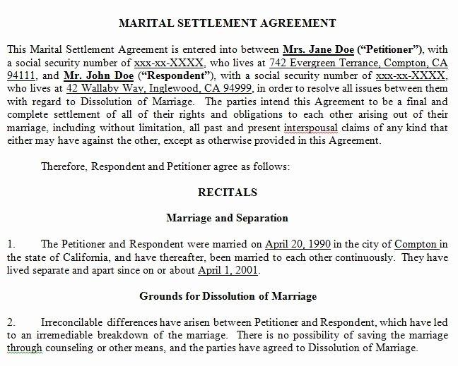 Marriage Settlement Agreement Template Unique Marital Settlement Agreement