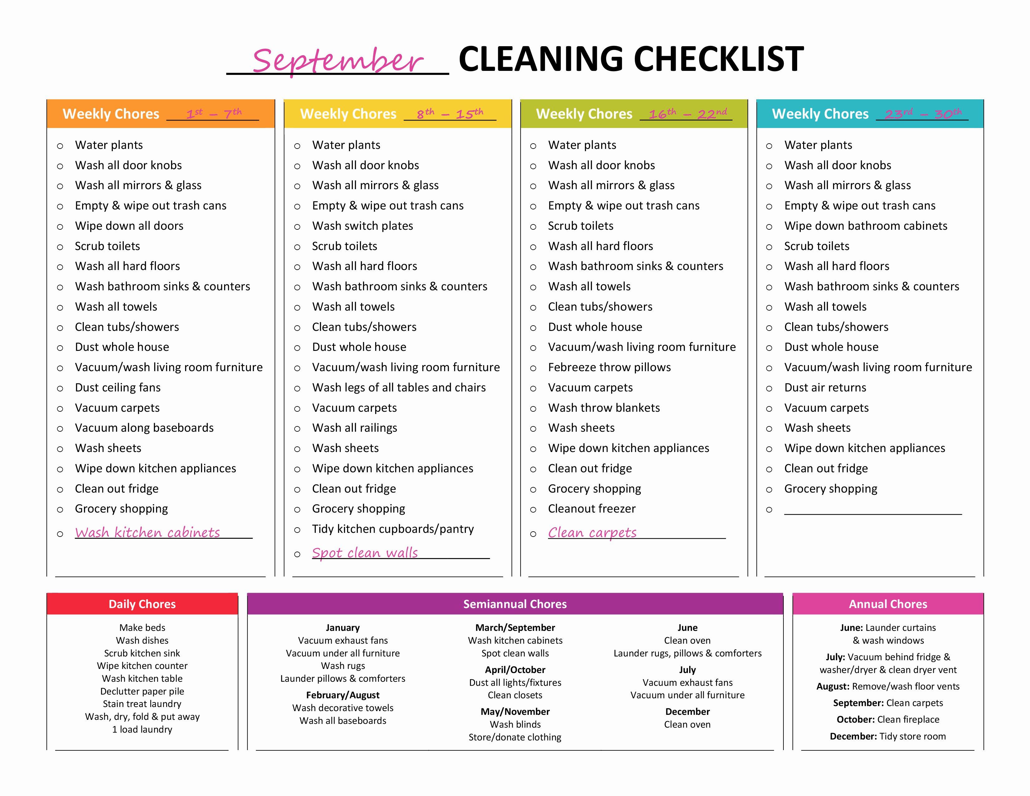 Master Cleaning Schedule Template Luxury Plete Housekeeping Printable Set