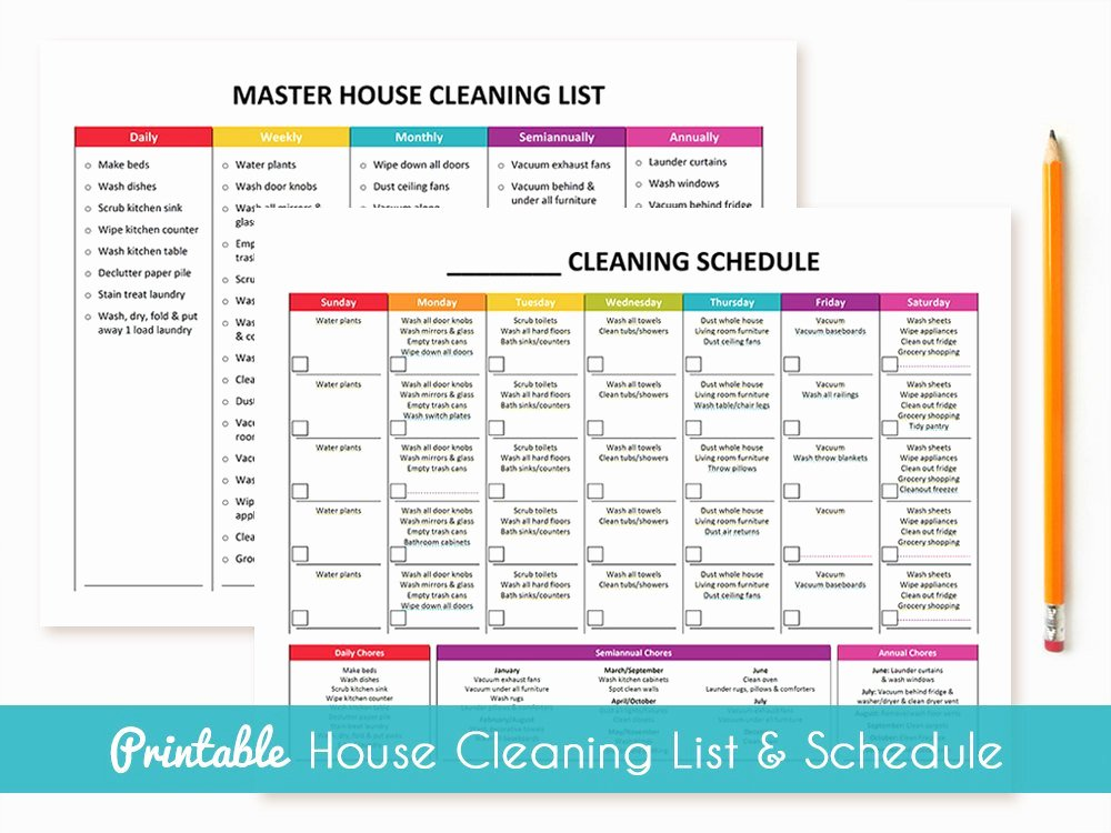 Master Cleaning Schedule Template Unique Printable Cleaning Schedule & Master House Cleaning List