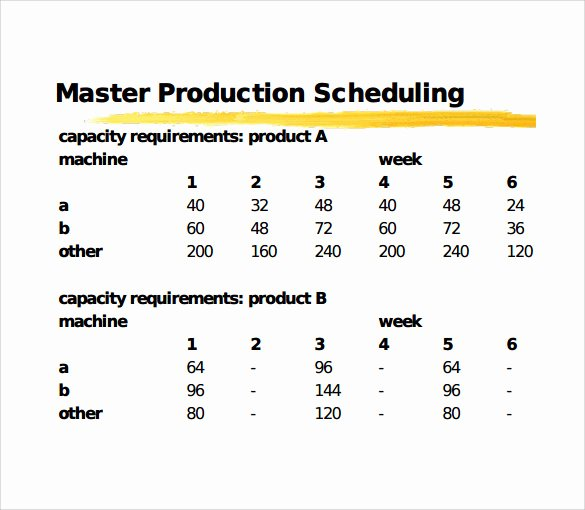 Master Production Schedule Template Excel Beautiful 11 Sample Production Schedule Templates