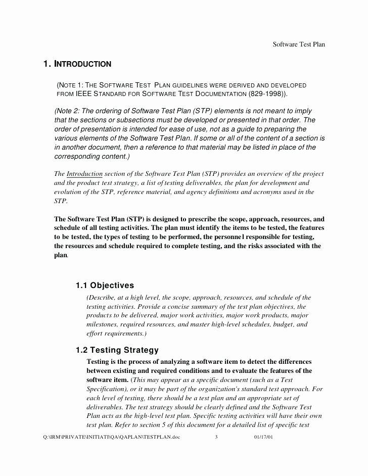 Master Test Plan Template Lovely software Master Test Plan Sample – Bleachbathfo