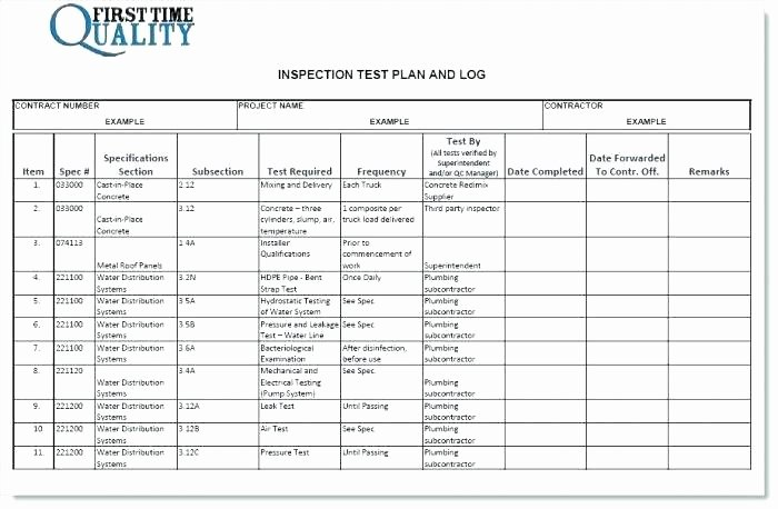 Master Test Plan Template Luxury Inspection and Test Plan Template