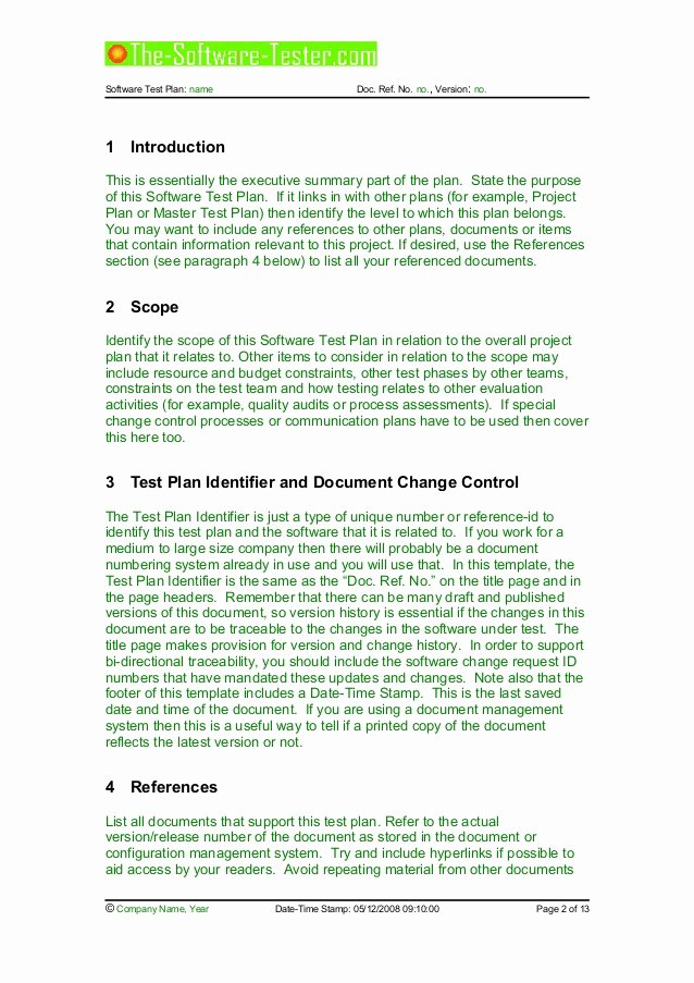 Master Test Plan Template New 02 software Test Plan Template