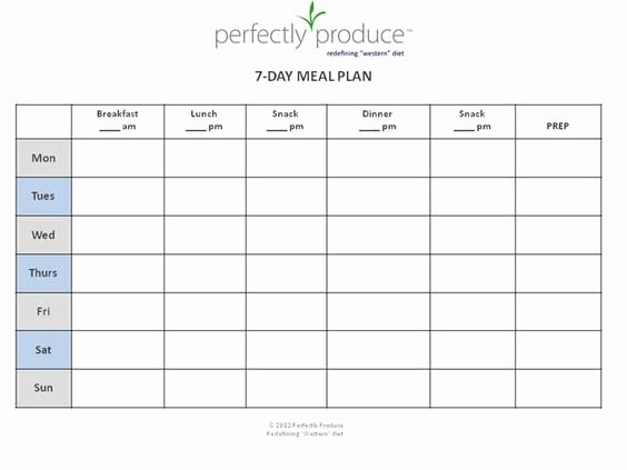 Meal Plan Calendar Template Awesome 7 Day Meal Planner Template