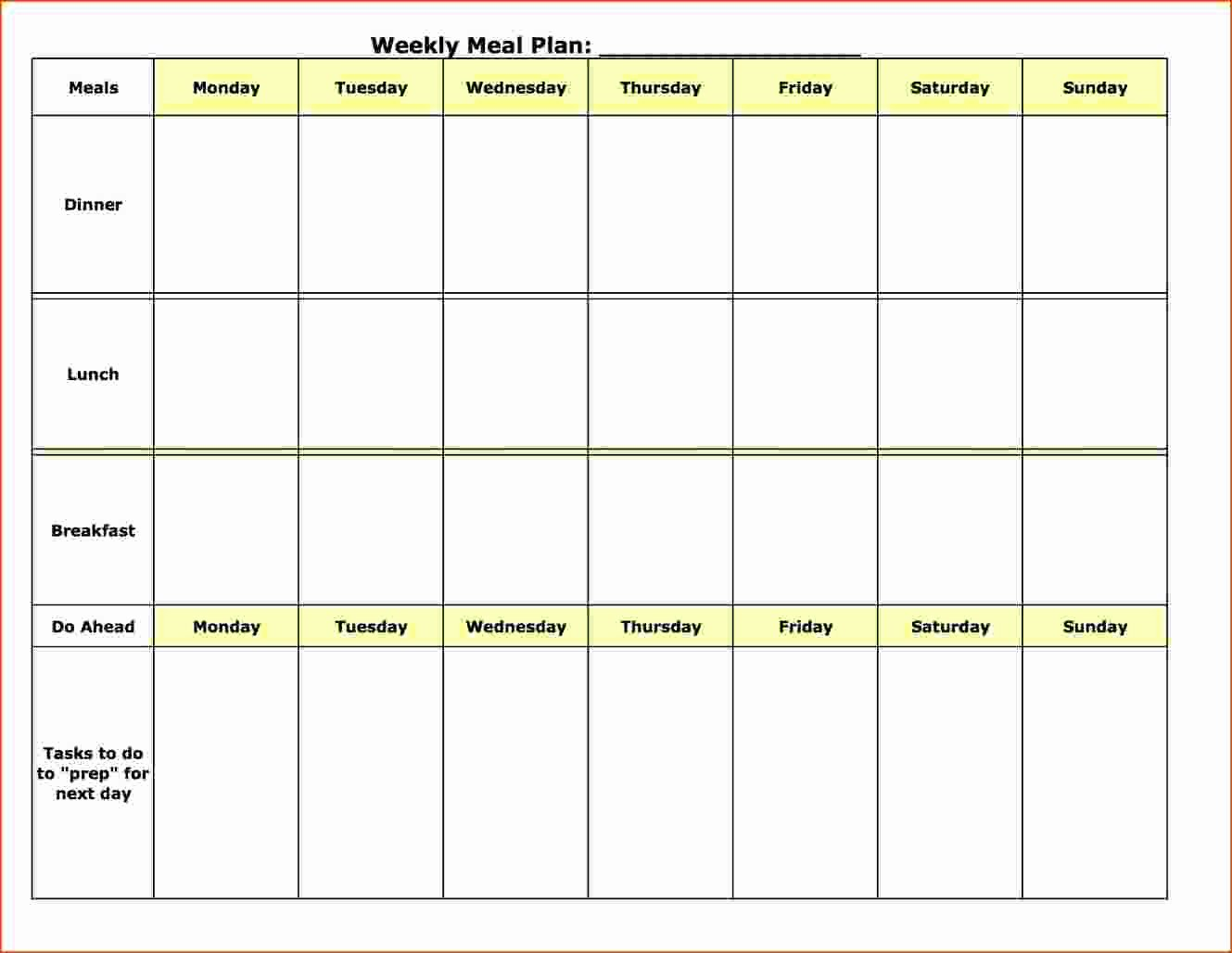 Meal Plan Calendar Template Awesome 8 Weekly Meal Plan Template Bookletemplate