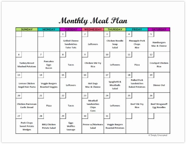 Meal Plan Calendar Template Awesome Free Monthly Meal Planner Printable Calendar Template for