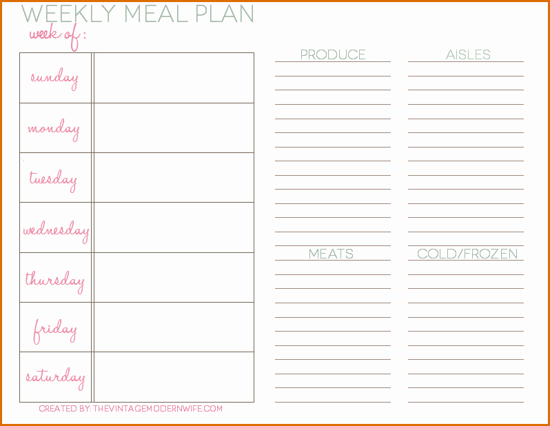 Meal Plan Calendar Template Best Of 5 Daily Meal Plan Template