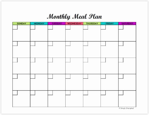 Meal Plan Calendar Template Elegant Free Monthly Meal Planner Printable Calendar Template for