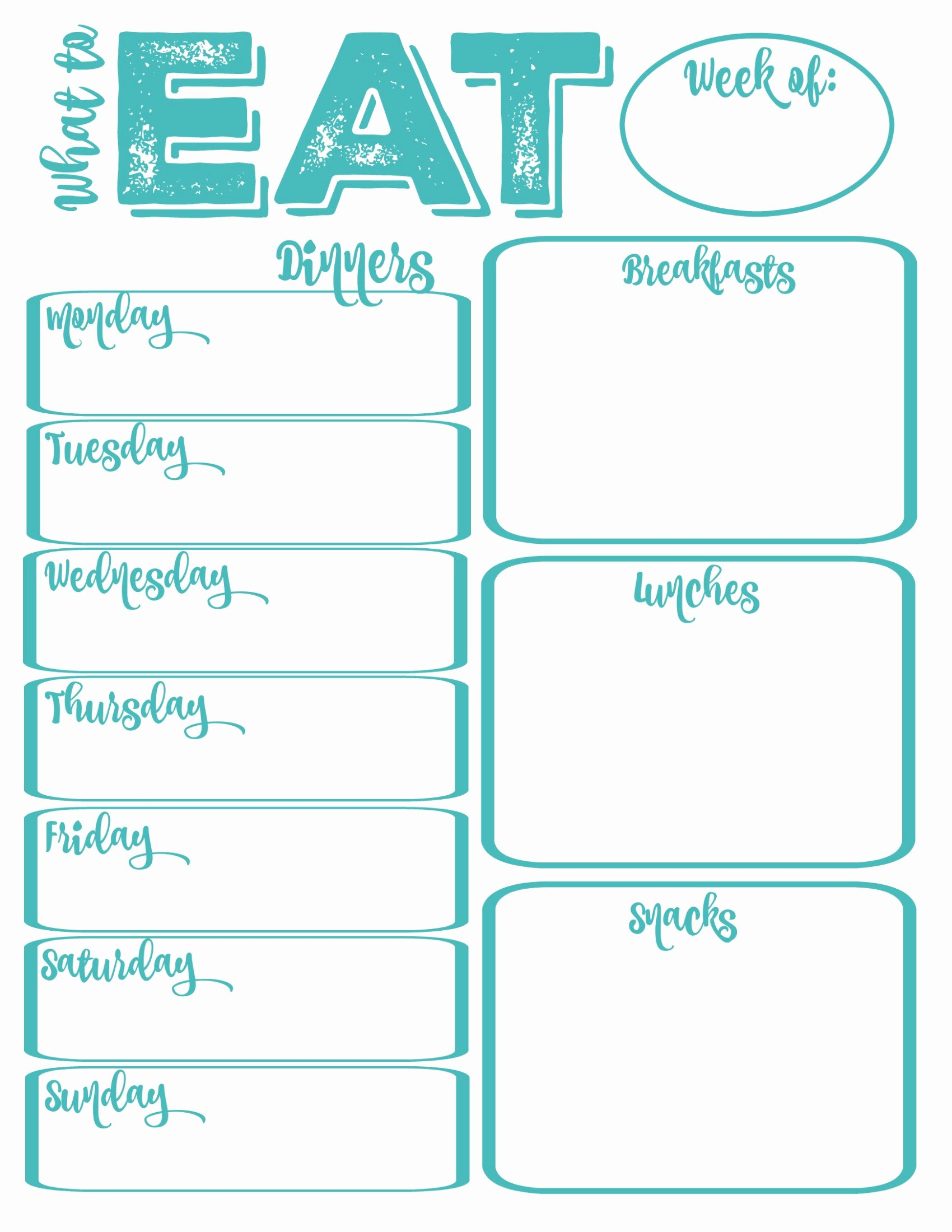 Meal Plan Calendar Template Elegant Pantry Makeover Free Printable Weekly Meal Planner and