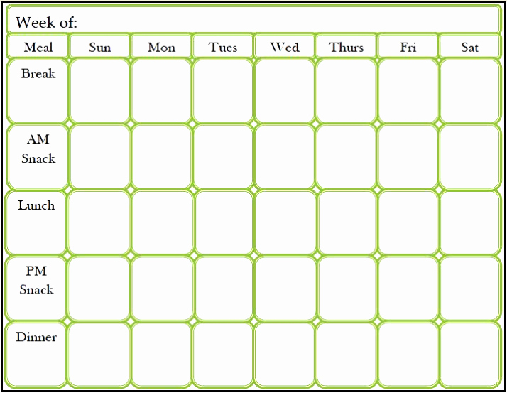 Meal Plan Calendar Template Elegant Printable Meal Plan Template Excel Word