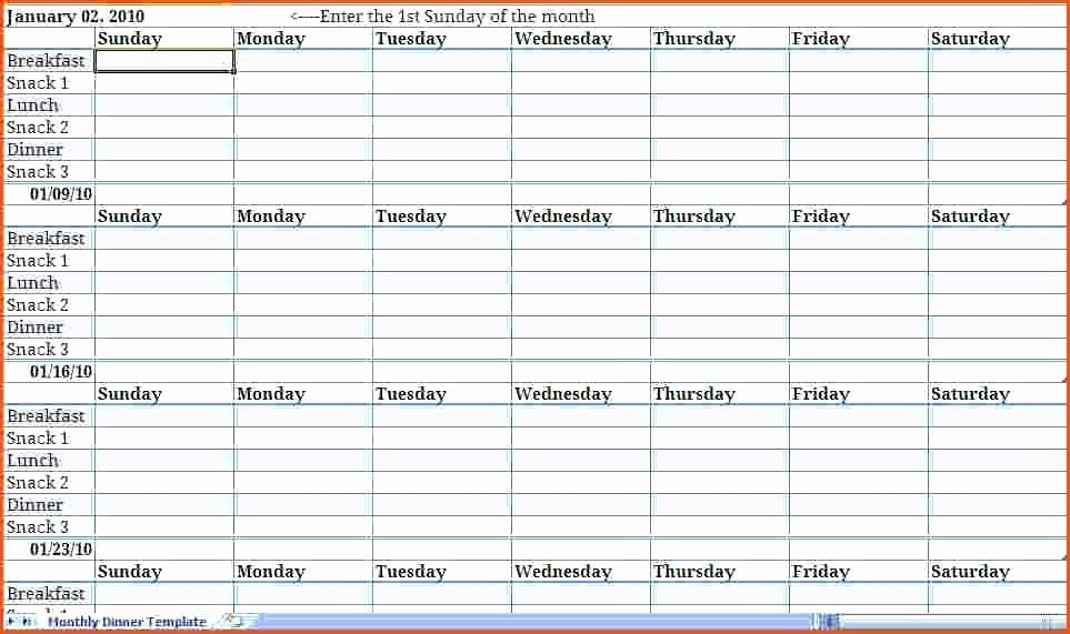 Meal Plan Calendar Template Elegant Printable Weekly Meal Planner Chart – Horneburgfo
