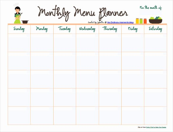 Meal Plan Calendar Template Fresh 10 Monthly Menu Templates Psd Pages Docs Ai