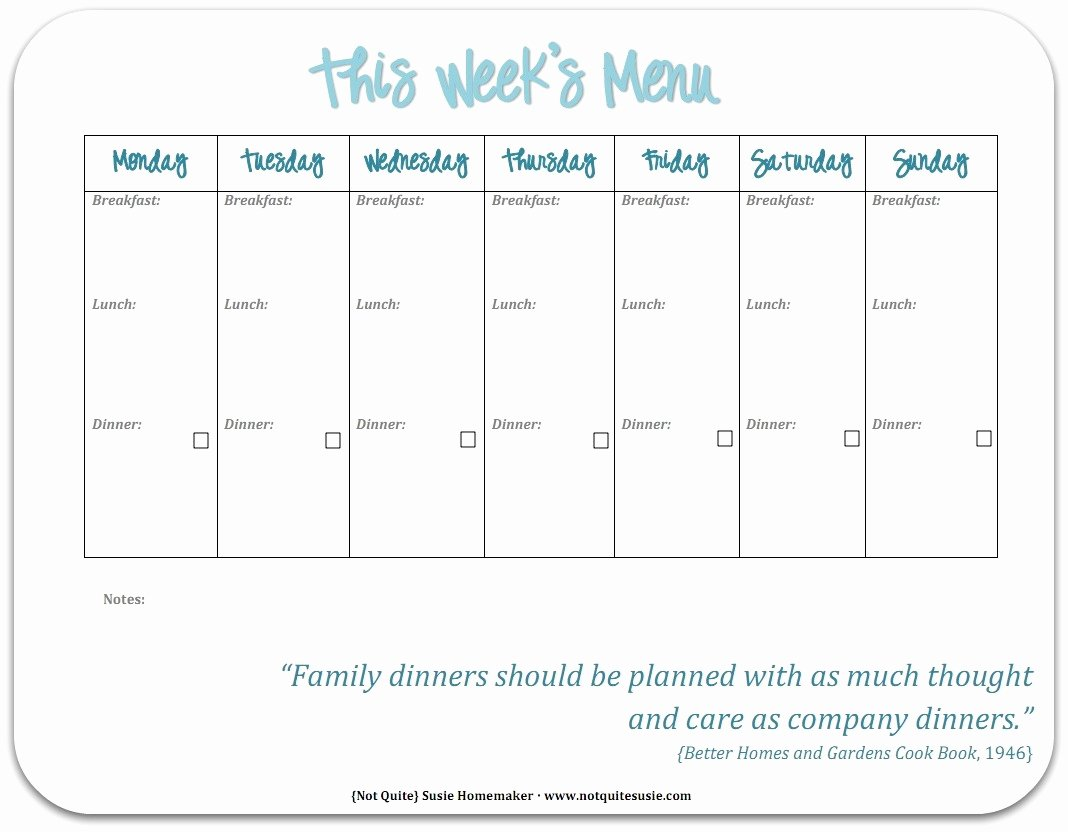 Meal Plan Calendar Template Fresh Free Printable Weekly Meal Planner Not Quite Susie
