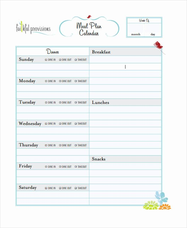 Meal Plan Calendar Template New 10 Planning Calendar Templates Sample Example