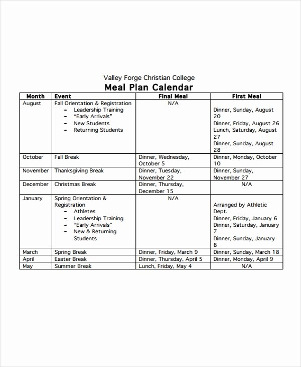 Meal Plan Calendar Template New 9 Meal Calendar Templates Free Sample Example format