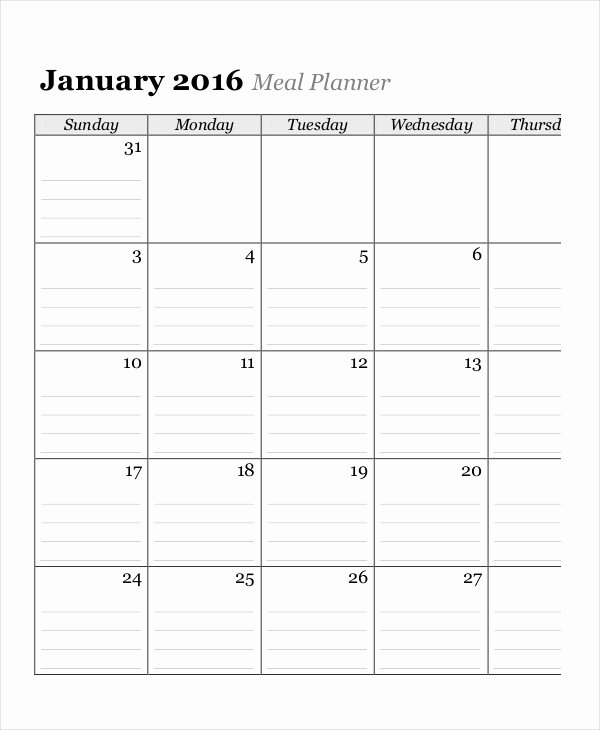 Meal Plan Calendar Template New Monthly Calendar 13 Free Word Pdf Documents Download