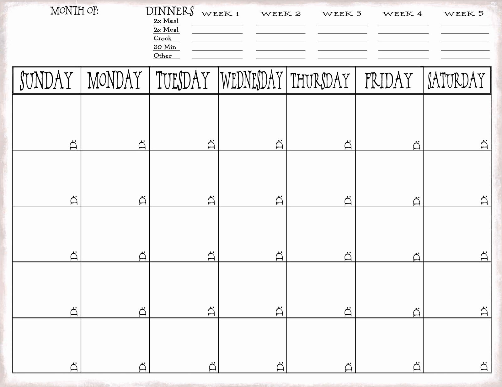 Meal Plan Calendar Template Unique Just Sweet and Simple More On Meal Planning
