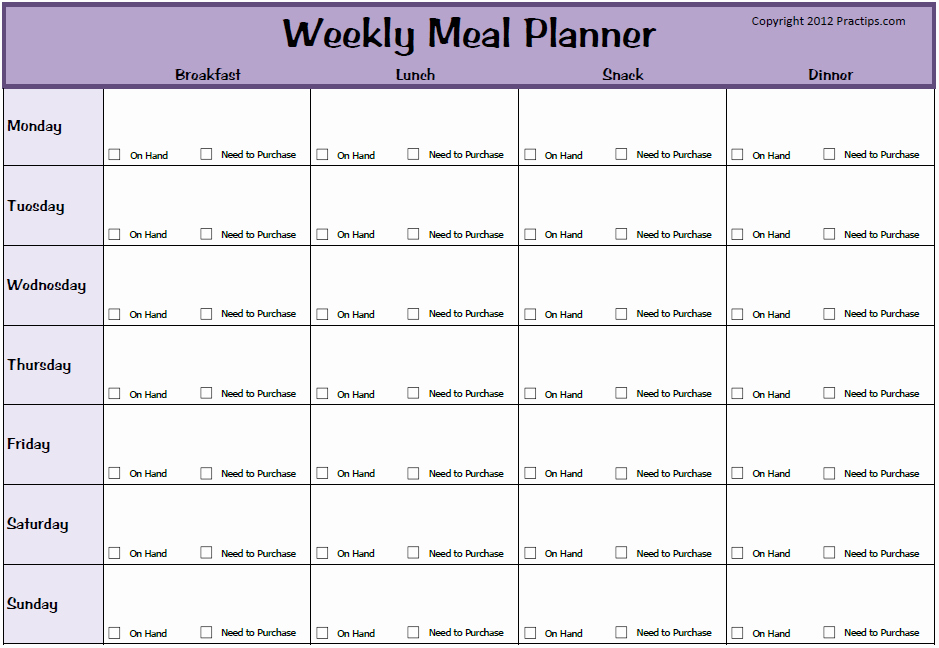 Meal Plan Calendar Template Unique Weekly Meal Planner Template Beepmunk