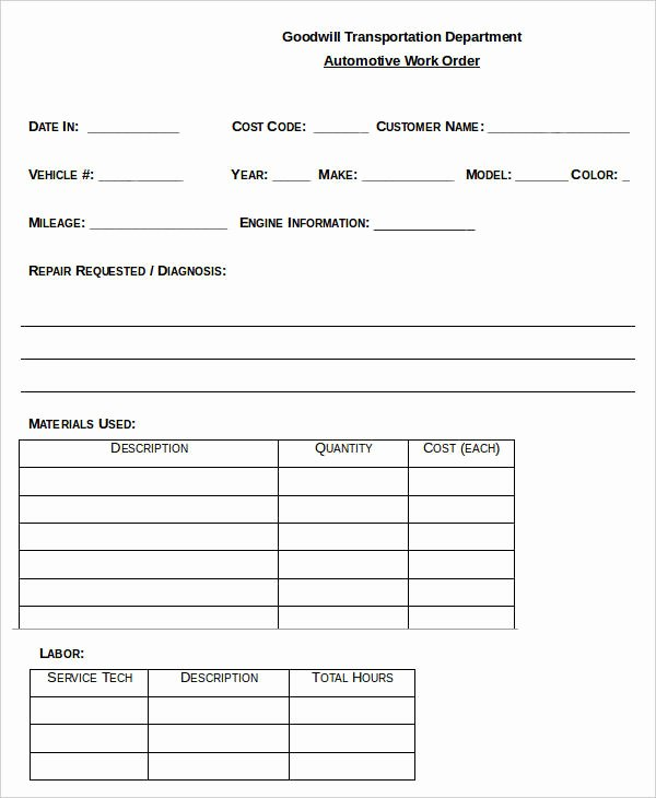 Mechanic Work order Template Awesome 29 order Templates In Word