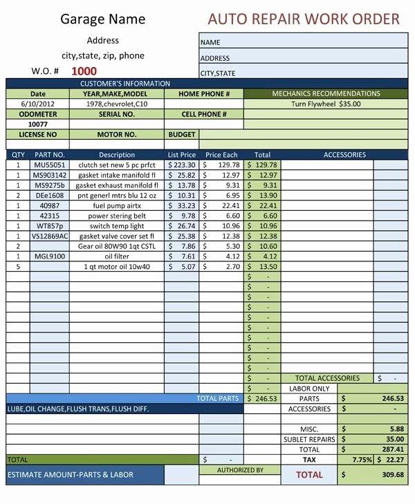Mechanic Work order Template Best Of Auto Repair Work order Template Free Download