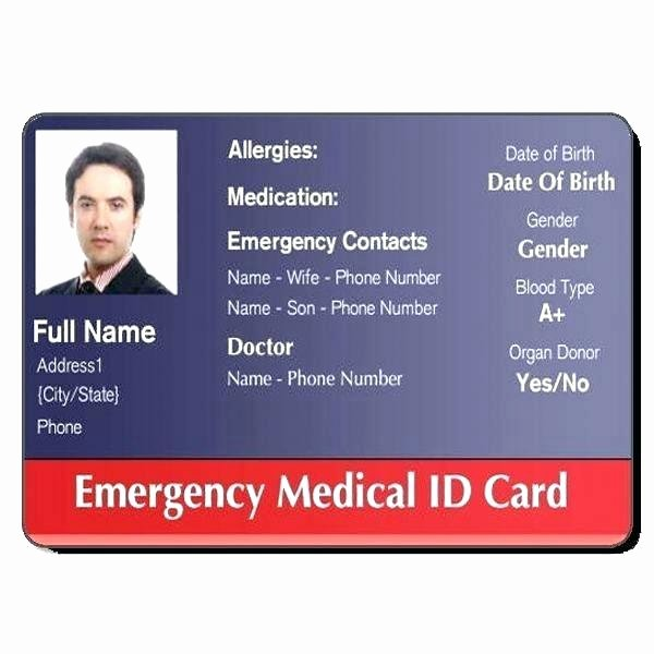 Medical Alert Card Template Awesome Wallet Card Template – Bharathb
