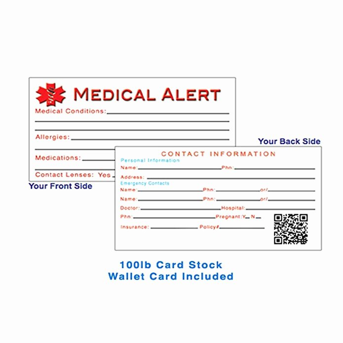 Medical Alert Card Template Best Of Medical Alert Wallet Card Template Gallery Template
