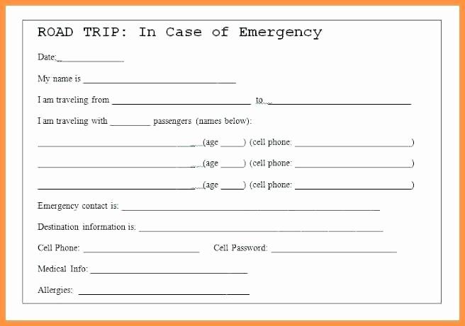 Medical Alert Card Template Best Of Medical Emergency Card Template Road Trip Tip Printable Id