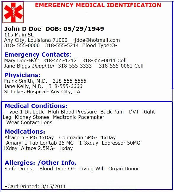Medical Alert Card Template Fresh Emergency Medical Card Emergency Preperation