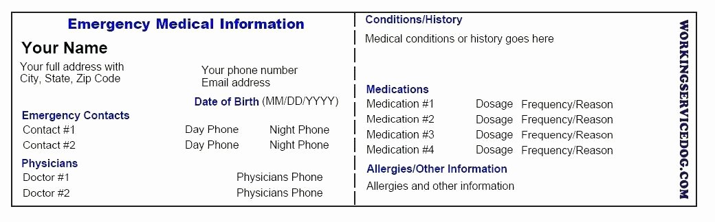 Medical Alert Card Template Fresh Medical Emergency Card Template Working Service Dog Free