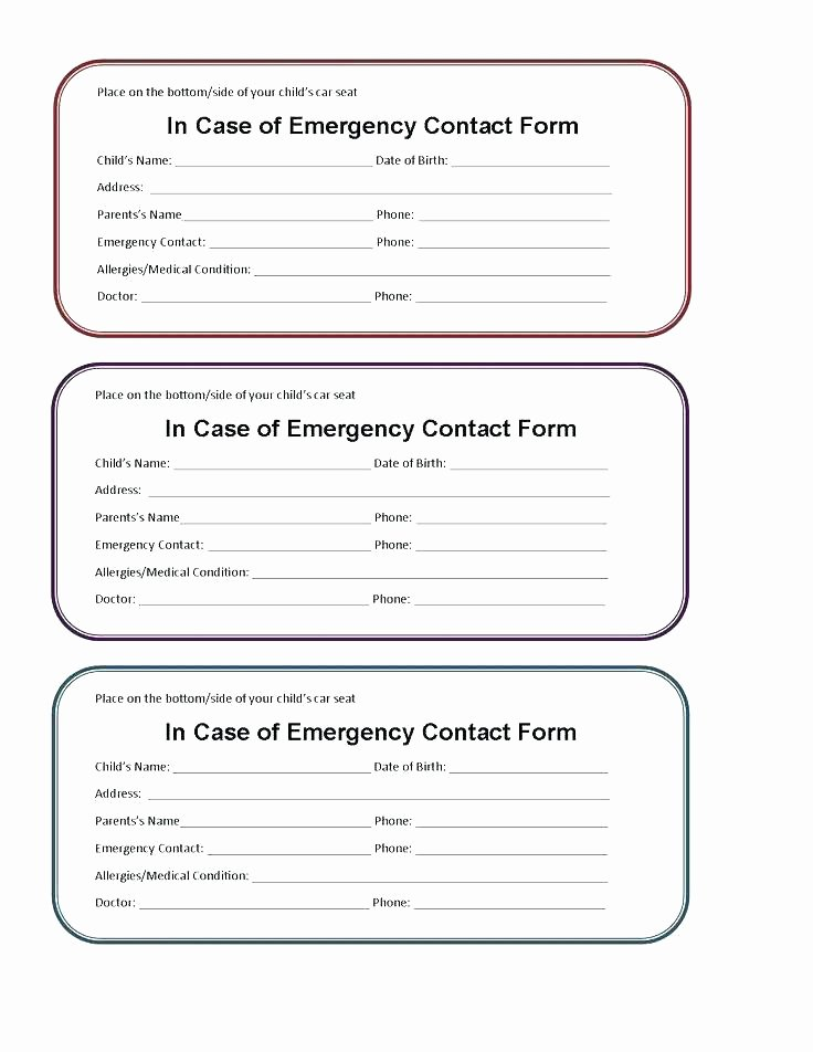 Medical Alert Card Template Fresh Printable Emergency Contact form Template and Medical