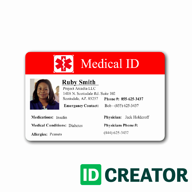 Medical Alert Card Template Inspirational Medical Information Custom Id Badge 1