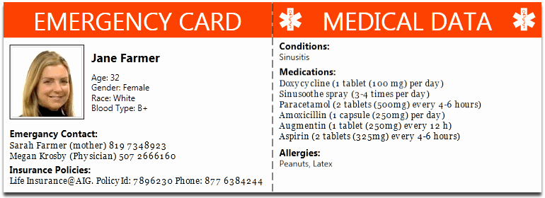 Medical Alert Card Template Lovely Family Health Management software