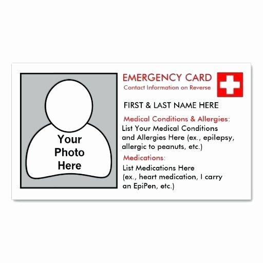 Medical Alert Card Template Luxury Emergency Medical Card Template Kids Id Card Template