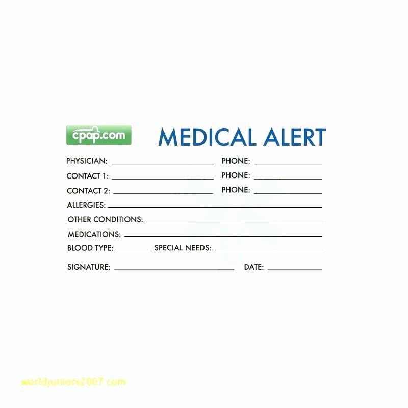 Medical Alert Card Template Luxury Free Medical Alert Card Id Template – Danielmelofo